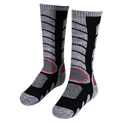 Meias masculinas femininas de inverno para aquecer esportes caminhadas, montanhismo, esqui de neve, térmica, botas de cano longo 5-9 – Preto, G