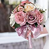 HiiARug Artificial Dusty Rose Bouquets for Wedding Bride Bridal Bouquets Wedding Flower with Hydrangea Ribbon Pearl for Wedding Party Church Home Decor