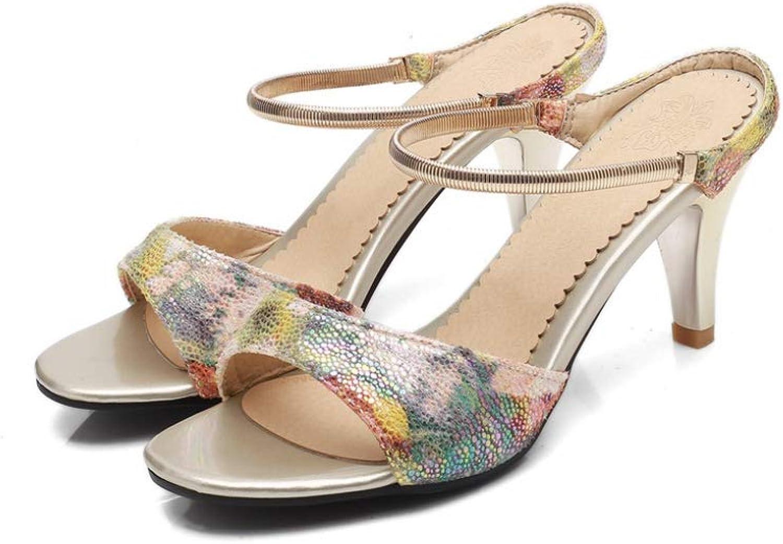 Btrada Women Casual Thin High Heels Sandals Fashion Summer Ladies Elegant Painting Wedding Sexy shoes