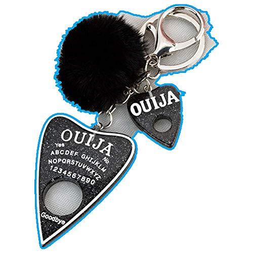 1PC Women Keychain Ouija Keyring Planchette Rresin Charms Handbag with Puffer Ball Board Keyring for Home Car Keys Organization ,glitter black