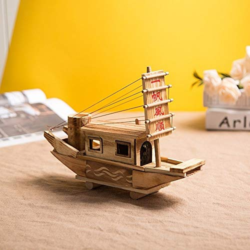 Home Decoration Wooden Crafts leien dakje miniatuurbeeldjes Houten Boot Music Box Ornamenten Sailing Gifts QPLNTCQ