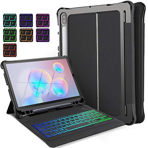 ELTD Tastatur Hülle für Samsung Galaxy Tab S6 10.5 (Deutsches QWERTZ-Layout), Hülle mit 7 Farben Hintergrundbeleuchtung Kabellose Tastatur für Samsung Galaxy Tab S6 T860/T865 10.5 Zoll (Schwarz)