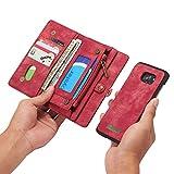JINXIUCASE Funda de Billetera de Cuero Hecha a Mano Vintage Multifuncional 2 en 1 con Ranuras para Tarjetas y Funda extraíble, Bolso de Cremallera Premium para Samsung Galaxy S7 Edge (Color : Red)