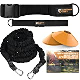Bungee Resistance Speed Band Set – 360° Rotation, 80 lbs Resistance Strength Bungee Cord 22ft Length, Sport Cones and Bonus Exercise Folder – Acceleration & Speed Training Tool by Scandinavian Sports