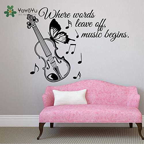 yuandp muurtattoo vinylkunst afneembare wanddecoratie citaat Wo woorden muziek maken Opmerking gitaar muurschildering sticker57 * 78 cm