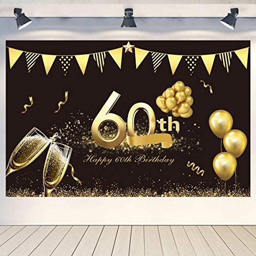 60th Birthday Decorations Gifts for Women Men Ideas,Extra Large Black Gold Sign Poster for 60th Birthday Banner Anniversary Backdrop 71 x 45 Inch