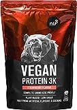 Batidos de proteínas veganas - Proteína vegetal 3K en polvo - de 3 componentes vegetales (guisante, cáñamo & arroz) - 1 Kg sabor fresa - Para crecimiento y mantenimiento de masa muscular - de nu3