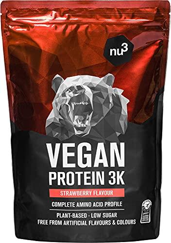 Vegan Protein 3K Shake - 1 Kg Strawberry Flavor - Pflanzliches Proteinpulver mit Reis-, Sonnenblumen-, Erbsen- & Johannisbrotprotein - Eiweisspulver aus 3-Komponenten mit 71{5b097bf4842190ac85d66458a9c638a74c258f607f8cf15a516eff29c51da36f} Eiweiss - nu3