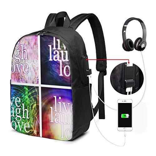 Schulrucksack Mit USB Port Jungen Mädchen Teenager, Rucksack Schule Laptop Rucksack für Herren Damen Daypacks für 15,6 Zoll Laptop Rucksack Live Laugh Love Untersetzer Vier