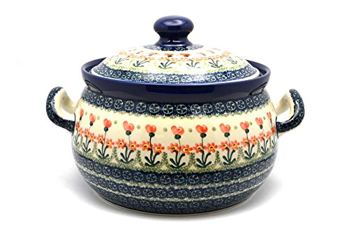 Polish Pottery Covered Tureen (without ladle slot) - Peach Spring Daisy