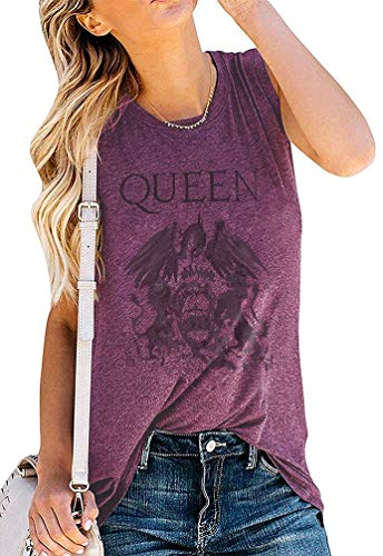 Damen Vintage-Tanktop The Show Must Go On Funny Graphic Freddie Mercury Shirt ärmellos Queen Band Tee -  Violett -  X-Large