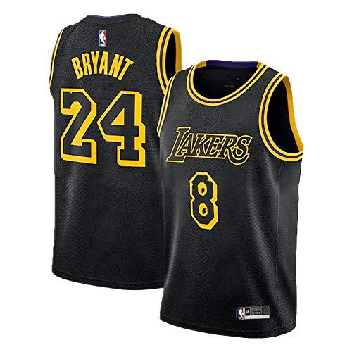 Schwarzes Mamba Kobe Herren Basketball Trikot, Lakers # 8N # 24 Swingman Unisex Basketball Trikot Hip Hop Kleidung für Party (S-XXL)-Jersey-L
