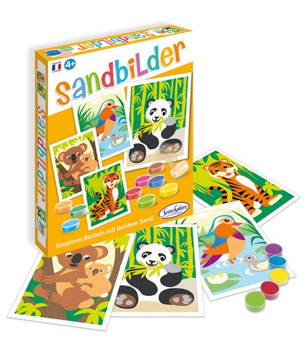 Sablimage 3980500 Sandbilder Bastel Kinder Motiv bedrohte Tierarten Kreativ-Set, DIY