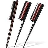 3 Pieces Teasing Brush and Teasing Comb Set, Includes Nylon Boar Bristle Hair Brush Salon Hair Teasing Brush and 2 Triple Teasing Comb Rat Tail Combs for Back Brushing Creating Volume Slicking Hair