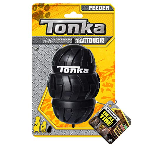 Tonka Tri-Stack Tread Feeder Dog Toy, Lightweight, Durable and Water Resistant, 5 Inches, for Medium/Large Breeds, Single Unit, Black