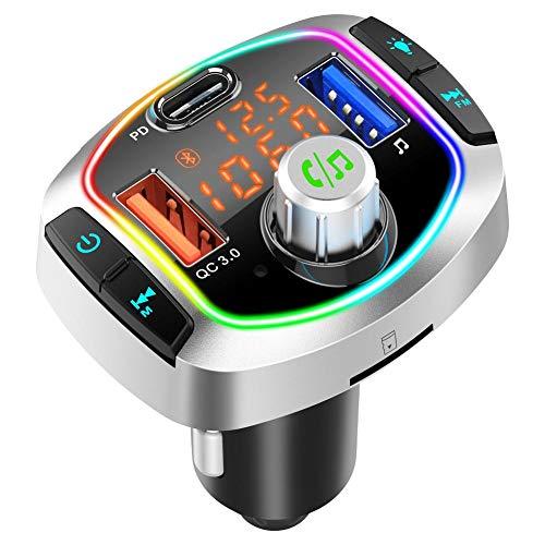FM Transmitter Auto Bluetooth 5.0 Radio Transmitter, 3 Ports PD 18W& QC 3.0 Schnellladung Ladegerät, Freisprecheinrichtung KFZ MP3 Player Kit Unterstützt USB-Stick 64GB TF Karte, Siri, 8 LED Farblicht