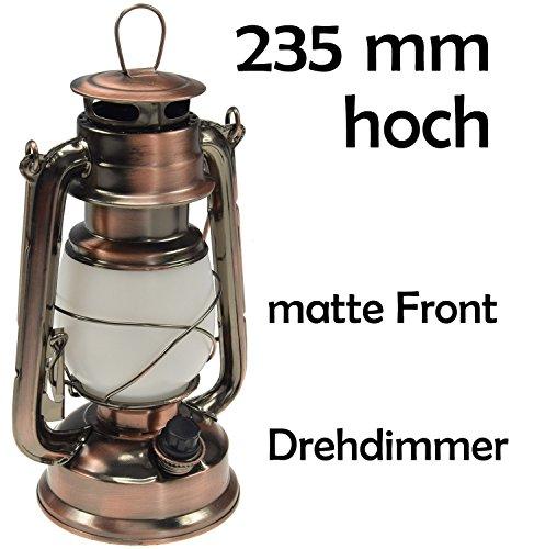 ChiliTec LED Camping Laterne Garten-Laterne Retro Design I Dimmbar Batteriebetrieb 4x AA Mignon 23,5cm Bügel Warmweiß - 3