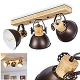 Deckenlampe Orny, Deckenleuchte aus Metall/Holz in Anthrazit/Weiß/Braun, 3-flammig, mit verstellbaren Strahlern, 3 x E27-Fassung max. 60 Watt, Spot im Retro/Vintage Design, LED Leuchtmittel geeignet