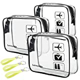 3pcs Lermende TSA Approved Toiletry Bag For Women with Silicone Handles, Travel Toiletry Bag for Men, Airport Carry On Small Clear Toiletry Bag Cosmetic bag For Travel Toiletries - Transparent Clear