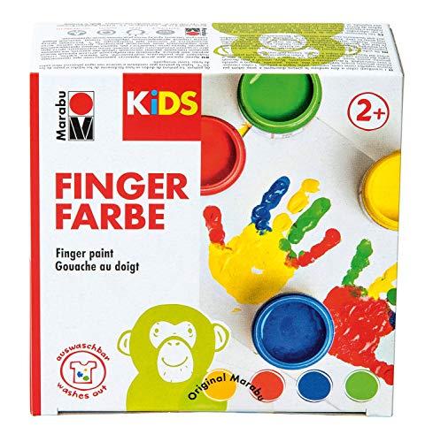Marabu 0303000000080 - Kids Fingerfarbe Set mit 4 leuchtenden Farben á 100 ml, parabenfrei, vegan, laktosefrei, glutenfrei, geeignet zum Malen in Kindergarten, Schule, Therapie und zu Hause