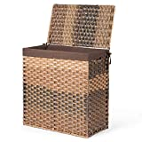 Giantex Laundry Hamper Hand-Woven Synthetic Rattan Laundry Basket W/ Removable Divided Washable Liner Bag, Lid and Handles Foldable and Portable Rectangular Laundry Basket (23' x 13' x 24', Brown)