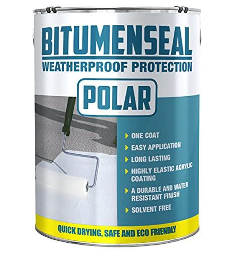 Polar White Waterproof Bitumen Paint Roof Sealant Repair Coating 5KG for...