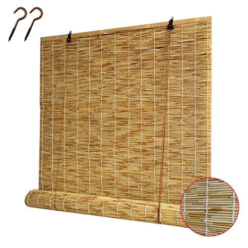 Tenda a Lamella Naturale,Tenda di Bambù,Tenda a Rullo in Bambù Intrecciata a Mano,Impermeabile/Traspirante,per Interni/Esterni/Giardino/Balcone,Personalizzabile,con Accessori (120x200cm/47x79in)