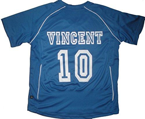 PATOUTATIS - t-Shirt - Maillot Foot personnalisé avec prénom et numéro de Votre Choix - Manches Courtes col V - JN386K - Bleu - Enfant Taille XXL - 158/164 cm