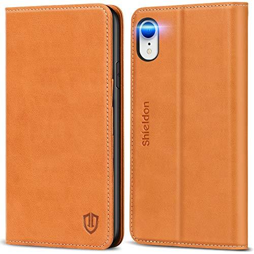 SHIELDON iPhone XS fodral, iPhone XS plånboksfodral, äkta läderfodral med [RFID-blockering] [Automatisk väckning/vila][TPU innerskal] [Kickstand] folio fodralskydd kompatibel med iPhone XS (5,8 tum), brun