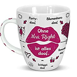 Sheepworld 46510 Tasse Ohne Mrs Right ist alles doof, Kussmu