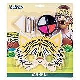 Boland 45109 - Juego de maquillaje de tigre pequeño y paleta de maquillaje, 4 colores, con aplicador, esponja, lápiz de maquillaje y máscara, disfraz, carnaval, fiesta temática, Halloween