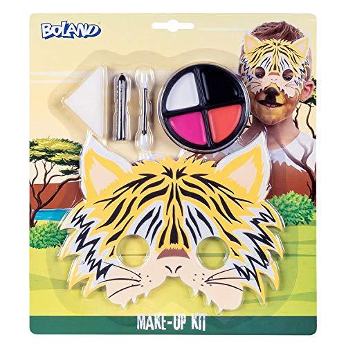 Boland 45109 - Juego de maquillaje de tigre pequeo y paleta de maquillaje, 4 colores, con aplicador, esponja, lpiz de maquillaje y mscara, disfraz, carnaval, fiesta temtica, Halloween