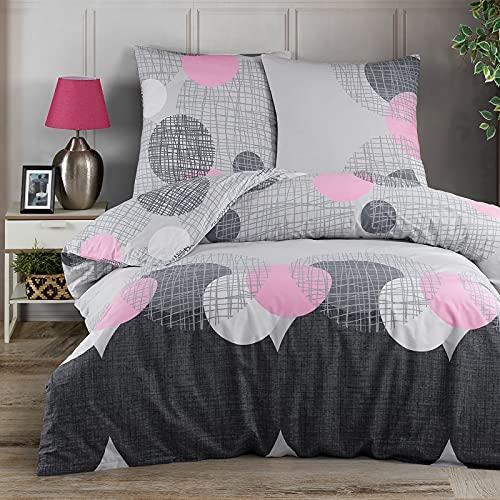 Ropa de cama 135 x 200 cm Deluxe 4 piezas 100% algodón Renforce cremallera juego de ropa de cama fundas y fundas de almohada tamaño estándar, patrón círculos puntos rosa gris negro
