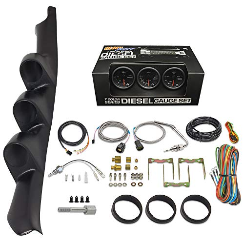 GlowShift Diesel Gauge Package Compatible with Chevrolet Chevy C/K 2500 3500 1995-1998 - Black 7 Color 60 PSI Boost, 1500 F Pyrometer EGT & Transmission Temperature Gauges - Black Triple Pillar Pod