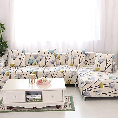 HYSENM 1/2/3/4 Sitzer Sofabezug Sofaüberwurf Stretch weich elastisch farbecht Blumen-Muster, Löwenzahn 3 Sitzer 190-230cm