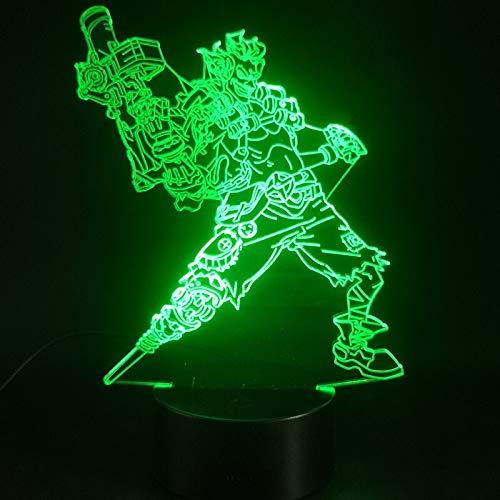 Juego de lámparas 3D Overwatch Hero Junkrat color cambiante Atmósfera de base brillante Lámpara de luz nocturna Led