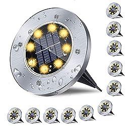 💕【Upgrade Version Solar leuchten】: Im Gegensatz zu den 6 LEDs and 8 LEDs anderer bestehen unsere Solar-Bodenleuchten aus 12 LED-Leuchten, was bedeutet, dass Sie mehr Licht für Ihren Weg erzeugen. Bei voll aufgeladenem Akku das Bodenlicht Garten wird ...