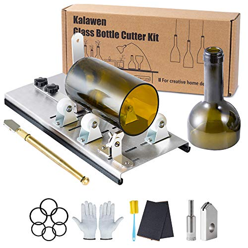Kalawen Glass Bottle Cutter Bottle Cutting DIY Machine for Cutting Wine, Beer, Liquor, Whiskey - Accessories Tool Kit Gloves Fixing Rubber Ring