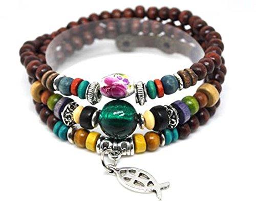 4030061 Wood Bead Fish & Cross Wrap Bracelet Christian Religious Inspirational Beaded