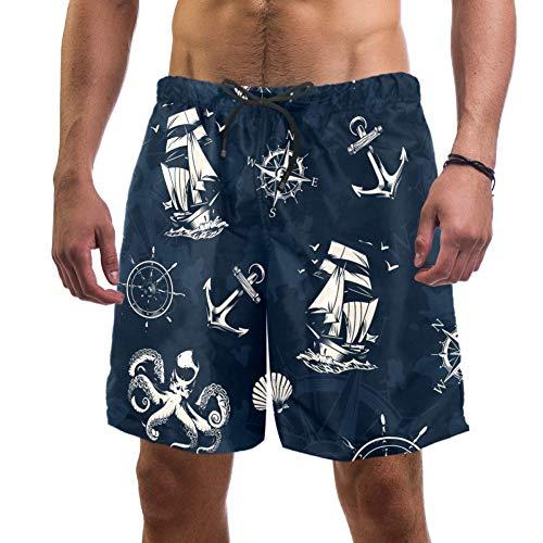 Herren Strand-Shorts, nautisches Segelschiff, Navigation, Kompass, Rad, Octopus, Hummer, Schwertfisch, Badehose, elastisch, Größe L Gr. L/XL, multi