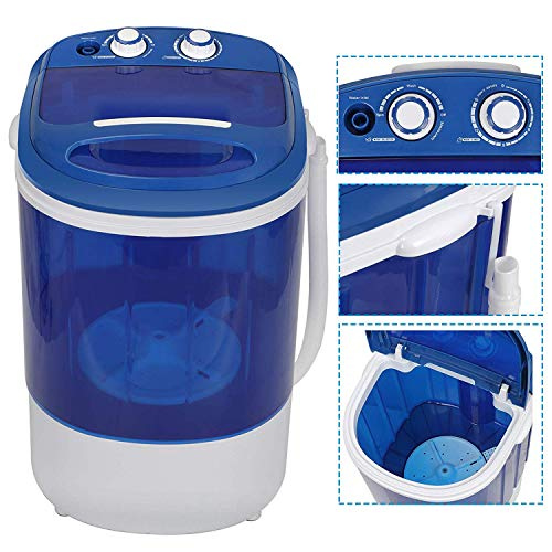 HomGarden 7.9lbs Capacity Mini Washing Machine for Compact Laundry, Portable Single Translucent Tub Washer with Timer Control and Spin Cycle Basket