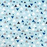 Wellnessfleece Dreiecke – aquablau — Meterware ab 0,5m