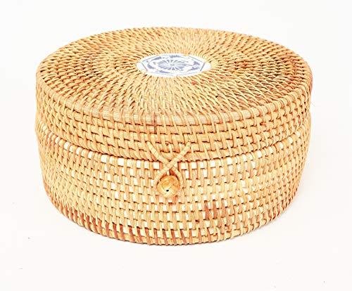 Vietnamese Large Round Hand-woven Rattan Bowls With Straps. Natural Rattan Storage Baskets. Multipurpose Round Rattan Bowls. Natural Brown and Diameter 11.8' Round Basket