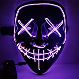 Tracfy Halloween Mask, Frightening Cosplay EI Wired LED Scary Mask for Party (Purple)