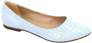 حذاء باليرينا مسطح جلد منقوش بطرف دائري للنساء من جرينتا