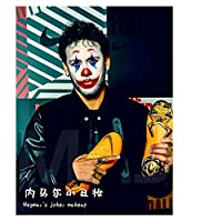 5DDIYフルラウンドダイヤモンドペインティングピエロメイク「NeymarDaSilvaSantosJúnior」5D刺繡クロスステッチホームディクターアート
