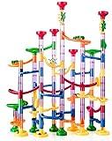 Kriogor Juego de 133 piezas de trenes de canicas Marble Run con elementos y canicas de cristal, para aprender y construcción de pistas de bolas para niños, niñas, niños a partir de 3 años