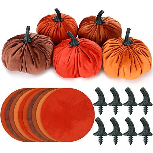 Hotop 10 Set DIY Pumpkin Fall Decorations Small Velvet Pumpkins Include 10 Pieces Round Flannel and 10 Pieces Pumpkin Stem for Halloween and Thanksgiving DIY Small Pumpkins Decoration Supplies