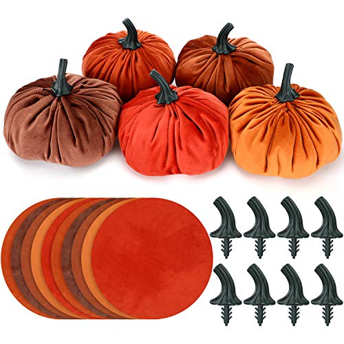Hotop 10 Set DIY Pumpkin Fall Decorations Small Velvet Pumpkins Include 10 Pieces Round Flannel and 10 Pieces Pumpkin Stem for Halloween and Thanksgiving DIY Small Pumpkins Decoration Supplies