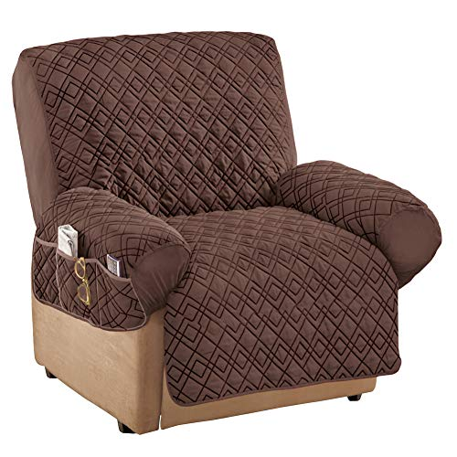 Collections Etc Diamond-Shape Quilted Stretch Recliner Cover with Storage Pockets - Furniture Protector, Chocolate, Recliner
